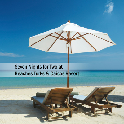 BEACHES<sup>®</sup> Turks & Caicos Resort - Relax and unwind during your  stay for 2 adults in the French Village at Beaches<sup>®</sup> Resort Turks & Caicos.  You will enjoy 7 nights at this all-inclusive oceanfront resort on 12 miles of beach lapped by clear turquoise waters.  Subject to availability based on request.  Airfare not included.