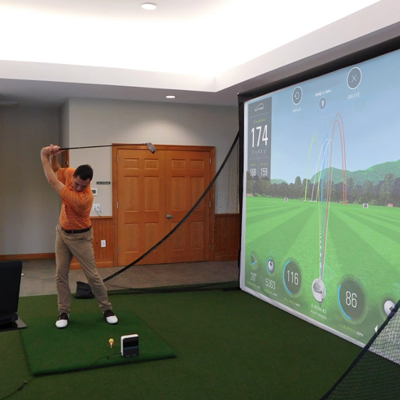 SKYTRAK™ Complete Home Golf Simulator Package - Create a home golf experience that you, your family and friends will enjoy, rain or shine. This package includes the driving range and motion view, 9x12 MicroBay™ screen system, 1080P golf simulator projector, and universal golf projector ceiling mount. SkyTrak™ connects to your computer. Turf mat measures 4x5.