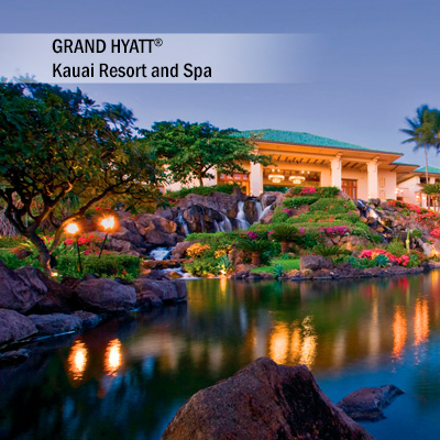 GRAND HYATT<sup>&reg;</sup> Kauai Resort and Spa - Enjoy 5 days and 4 nights accommodation at the GRAND HYATT<sup>&reg;</sup> Kauai Resort and Spa. Set along the white sands of Piopu, you will relax in your elegantly designed guest room. Create grand memories while you enjoy and explore 50 oceanfront acres of gardens, courtyards and pools .   Airfare not included.